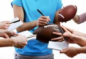 Autographs by American football star isolated on white background — Stock fotografie