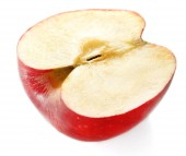 Cut red apple isolated on white — Stock Photo
