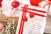 Handmade gifts on Valentine Day, close-up — Stock Photo