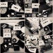 Collection of retro audio tapes and vinyl records in collage — Stockfoto #65373345
