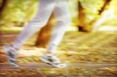 Runner feet on road, outdoors — Foto de Stock