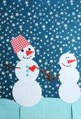 Handmade funny snowmen — Stock Photo