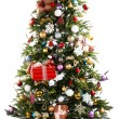 Decorated Christmas tree with presents under it isolated on white — Stock Photo #65403463