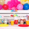 Prepared birthday table with sweets for children party — Stock Photo #65407201