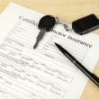Car keys on insurance documents, close up — Stock Photo #65407367