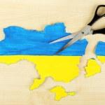 Map of Ukraine and scissors — Stock Photo #65407963