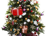 Decorated Christmas tree on floor on light wall background — Foto Stock