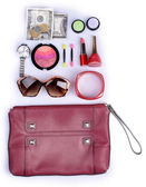 Ladies handbag and things with accessories of it isolated on white — Stock Photo
