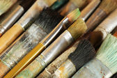 Different paintbrushes close up — Stok fotoğraf