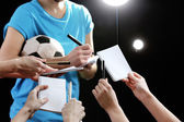Autographs by football star on black and lights background — Foto Stock