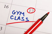 Written plan Gym Class on calendar page background — Stock Photo