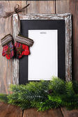 Menu board with Christmas decoration on wooden planks background — Stock Photo