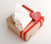 Beautiful gift box close-up. Valentine Day concept — Fotografia Stock
