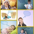 Dreaming children in collage — Stockfoto #65643875
