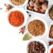 Different kinds of spices in ceramics bowls isolated on white — Stock Photo #65649913
