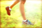 Runner feet on road, outdoors — Stock Photo