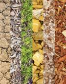 Assortment of different textures in collage, mix of textures as background — Stock Photo