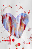 Painted heart over white paper background — Стоковое фото