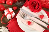 Ajuste de la tabla para el día de San Valentín — Foto de Stock