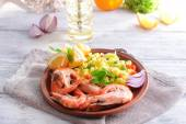 Seafood Paella on plate on table close-up — Stock Photo