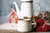 Winter composition with hot beverage — Stock Photo