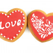 Heart shaped cookies for valentines day isolated on white — Stock Photo #65652591