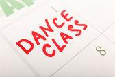 Written plan Dance Class on calendar page background — Stock Photo