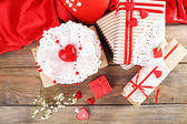 Handmade gifts on Valentine Day, on wooden background — Stock Photo