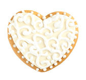 Heart shaped cookie for valentines day isolated on white — Stock Photo