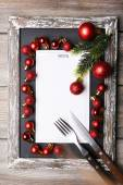 Menu board with Christmas decoration on wooden planks background — Foto de Stock