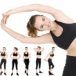 Woman doing exercises isolated on white, different poses in collage — Stock Photo #66117845