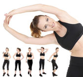 Woman doing exercises isolated on white, different poses in collage — Stock Photo