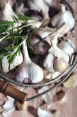 Raw garlic and spices — Stock Photo