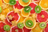 Cortou fundo de frutas — Fotografia Stock