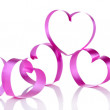 Pink paper hearts isolated on white — Stock Photo #66159630