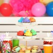 Prepared birthday table with sweets for children party — Stock Photo #66159910
