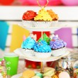 Prepared birthday table with sweets for children party — Stock Photo #66159948