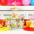 Prepared birthday table with sweets for children party — Stock Photo #66159952