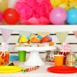Prepared birthday table with sweets for children party — Stock Photo #66159956