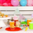 Prepared birthday table with sweets for children party — Stock Photo #66159974