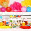 Prepared birthday table with sweets for children party — Stock Photo #66159990