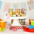 Prepared birthday table with sweets for children party — Stock Photo #66159996
