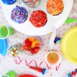 Prepared birthday table with sweets for children party — Stock Photo #66160002