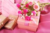 Handmade gifts on Valentine Day, on fabric background — Stock Photo