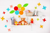 Baby accessories on shelves close-up — Stock Photo