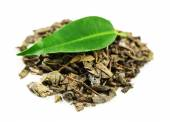 Green tea with leaf isolated on white  — Stock Photo