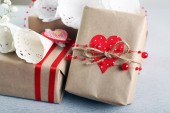 Beautiful gifts on grey background. Valentine Day concept — Stock Photo
