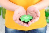 Woman holding cookie in shape of clover leaf for St Patrick Day close up — Stock Photo