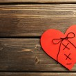 Stitched heart on wooden background — Fotografia Stock  #67010075