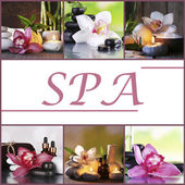 Orchid spa compositions in collage — Stock Photo